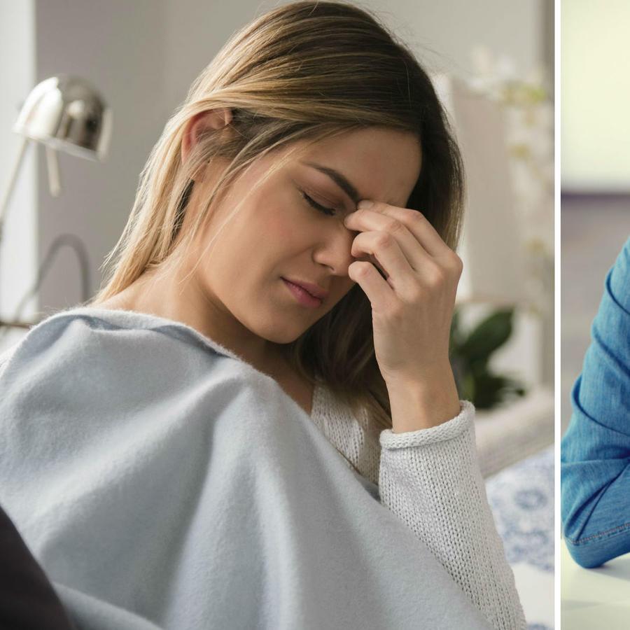 Mujer con dolor de cabeza y pecho