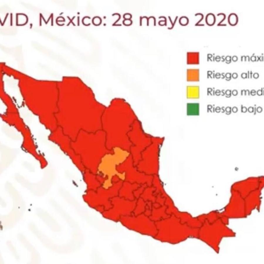 El mapa de semáforos de riesgo en México indica que solo 1 de los 32 estados está fuera del nivel rojo.