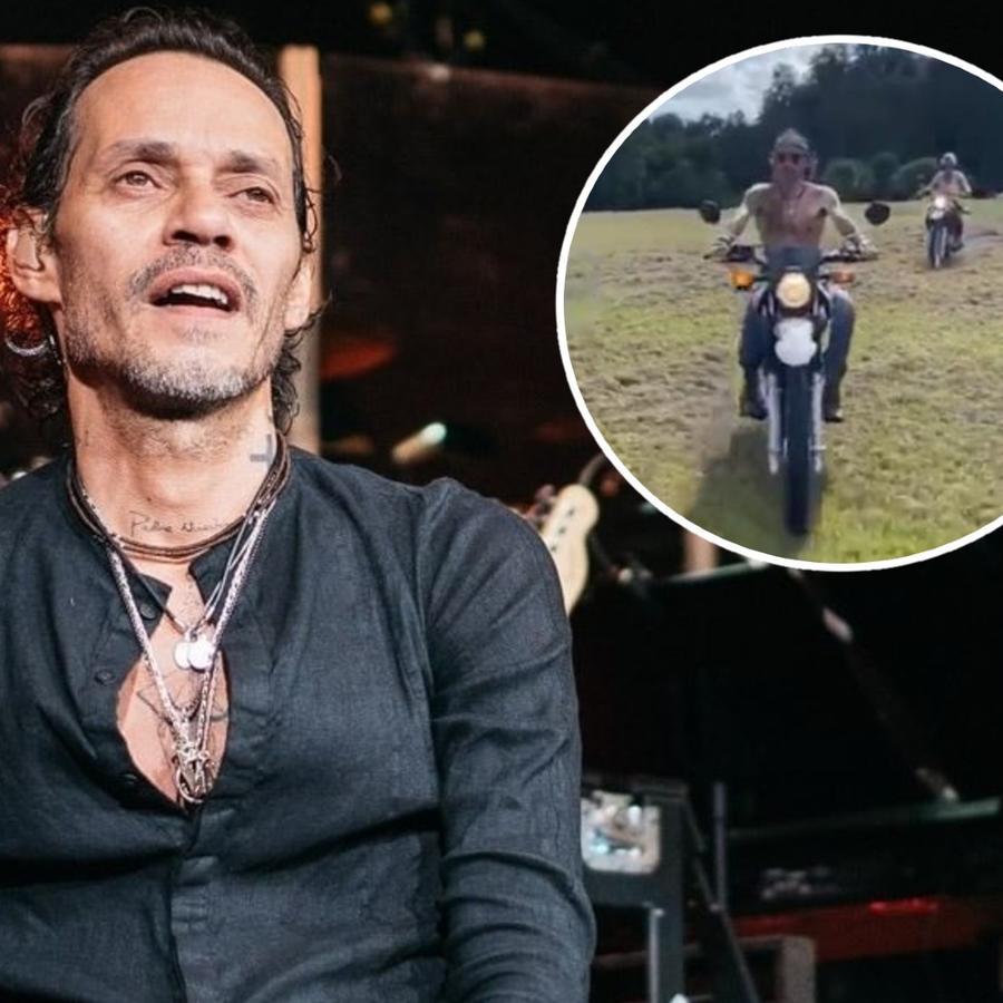 Marc Anthony da paseo en moto con sus hijos
