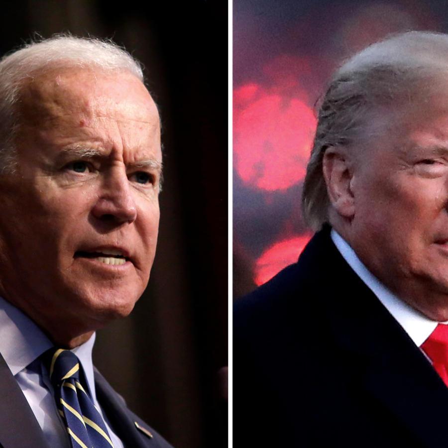 El exvicepresidente Joe Biden, izq, y el presidente Donald Trump.