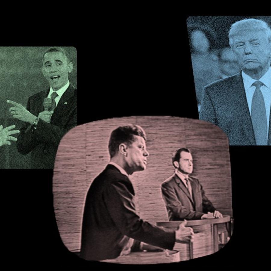 Collage de diferentes debates en la historia política de Estados Unidos.