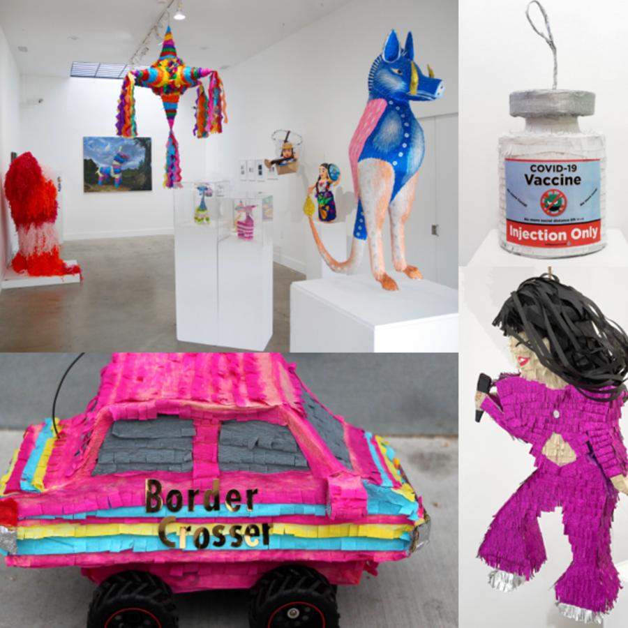 Piñatas tradicionales, de alebrijes, de Selena, de mariposas monarcas y de un auto de la migra.