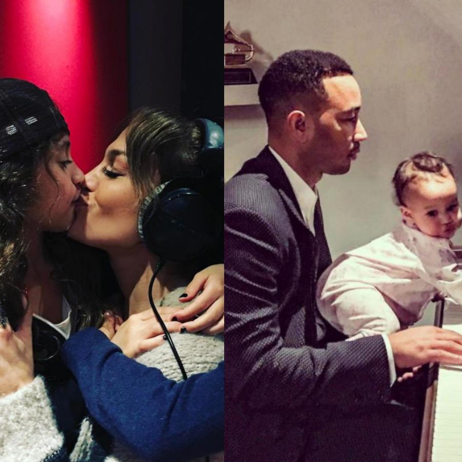 Jennifer Lopez besando a su hija Emma, John Legend al piano con su hija Luna y Kim Kardashian con su hijo Saint West en una alberca.