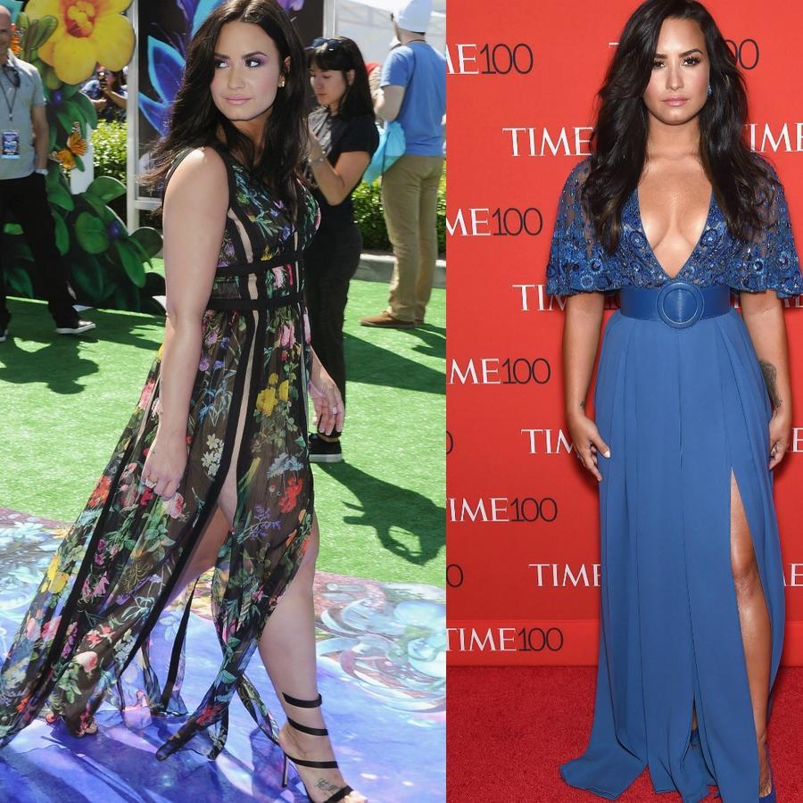 Collage de Demi Lovato en alfombras rojas.