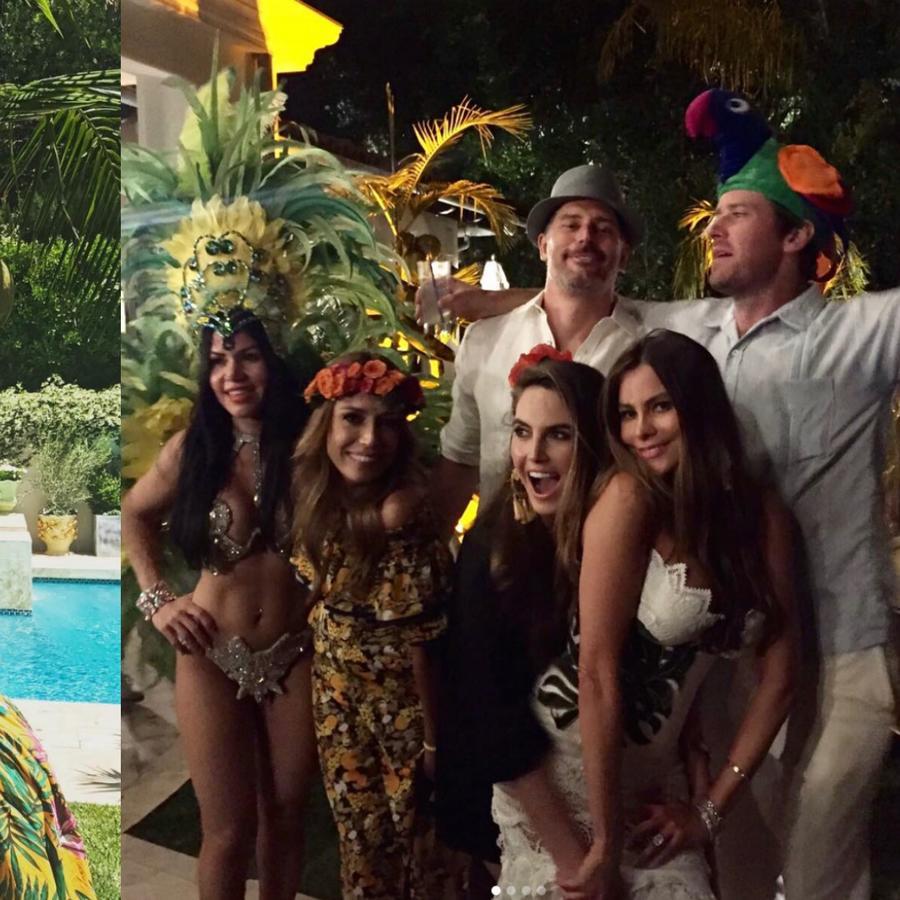 Collage de fotos de Sofía Vergara en su fiesta tropical por el Memorial Day.