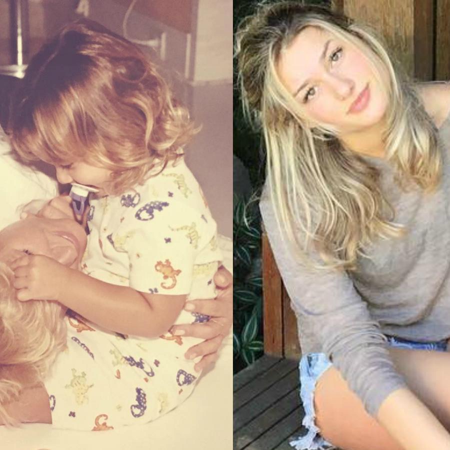 Collage de Sasha Meneghel con Xuxa Meneghel a través
