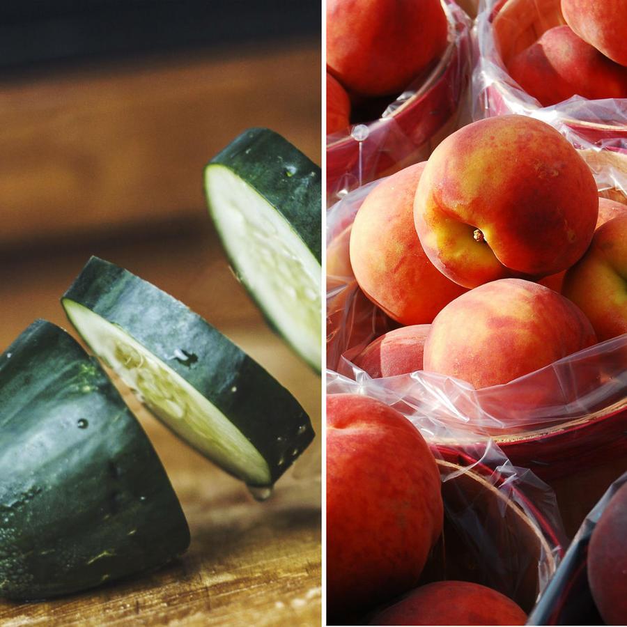 Cerezas, pepino y duraznos