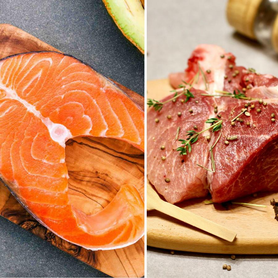 Salmón, carne roja y almejas