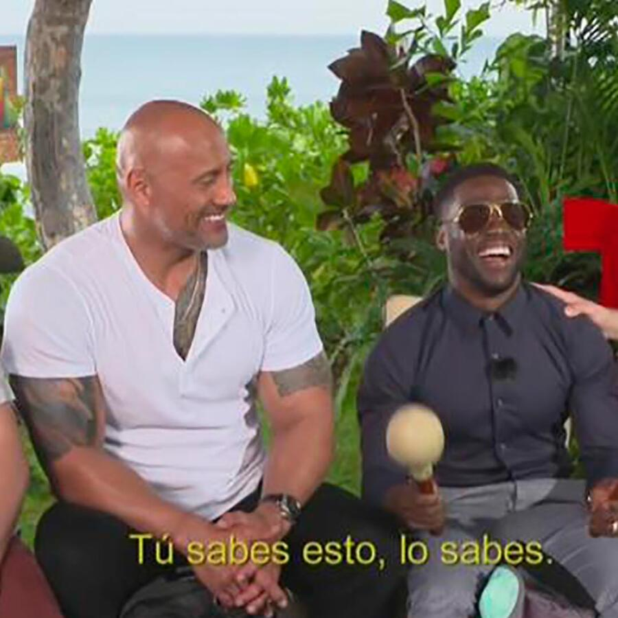 Kevin Hart, The Rock y Jack Black se animan a jugar y dar sus respuestas en español