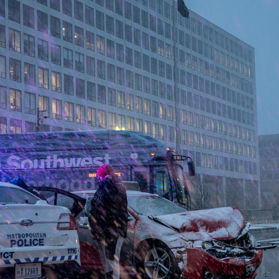 Accidente en Washington por el temporal de nieve