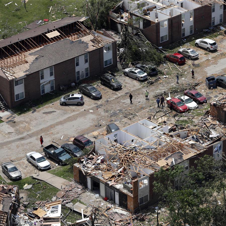 Imagen aérea de los desatres causados por un tornado en Jefferson City, en Misuri.