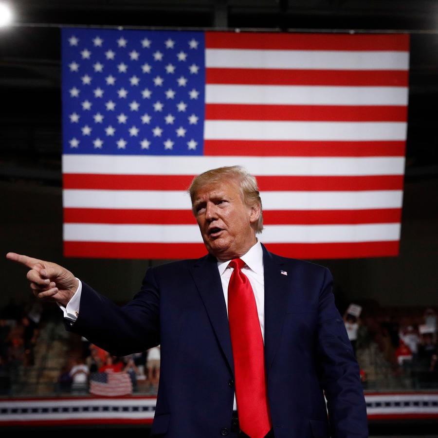 El presidente Donald Trump en su último mitin