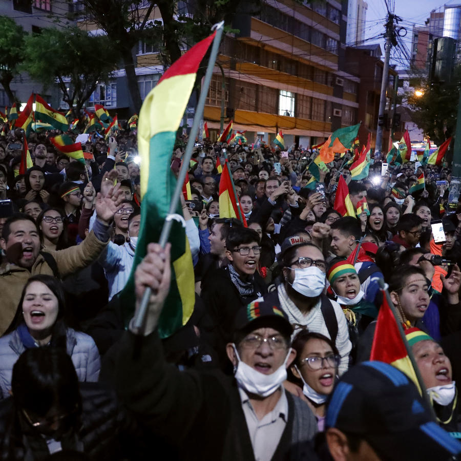 Anti-government protesters march against early presidential election results in La Paz, Bolivia