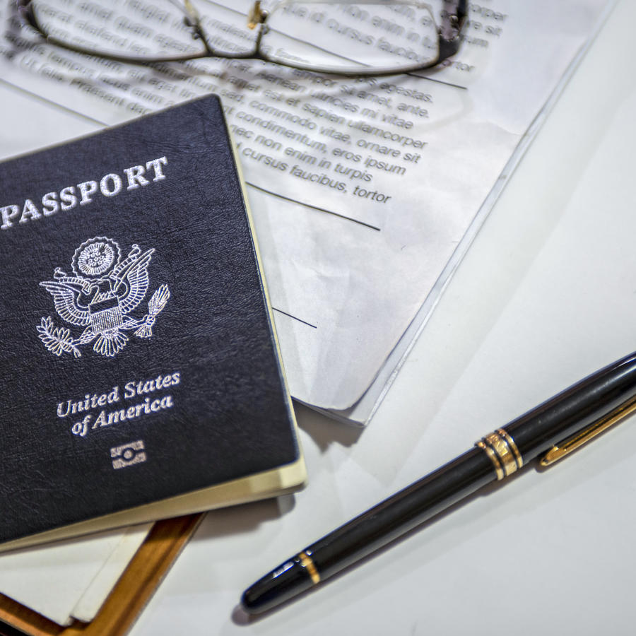 Passport on the desk of an American businessman