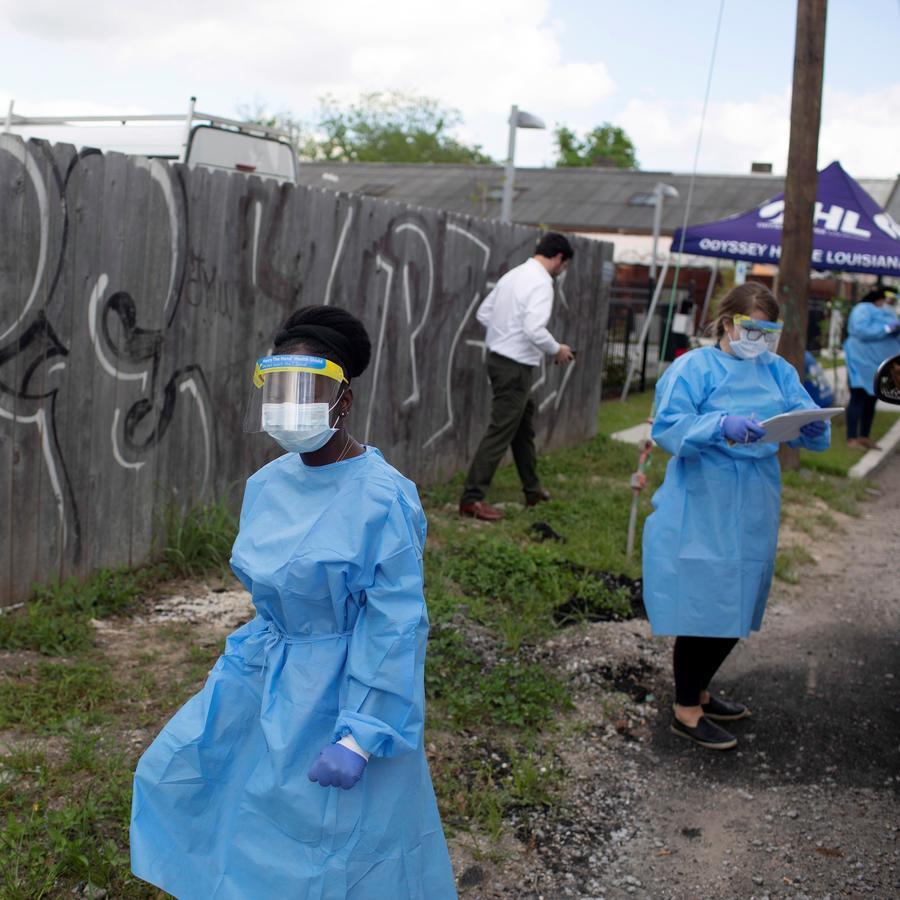 Centro de pruebas de manejo de la enfermedad por coronavirus (COVID-19) en Nueva Orleans