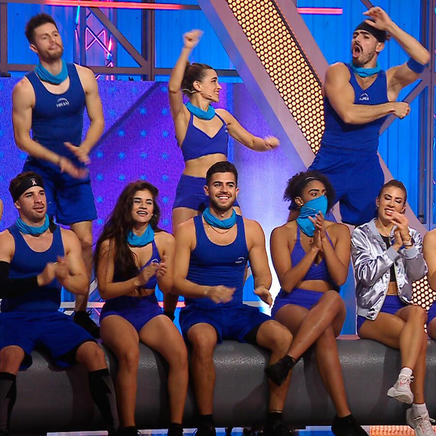 Equipo azul festeja