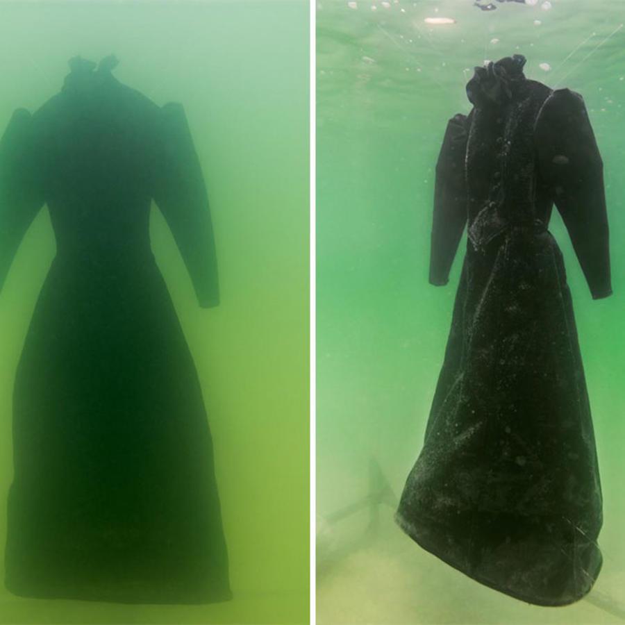 Así quedo un vestido tras estar sumergido 2 años en el mar muerto