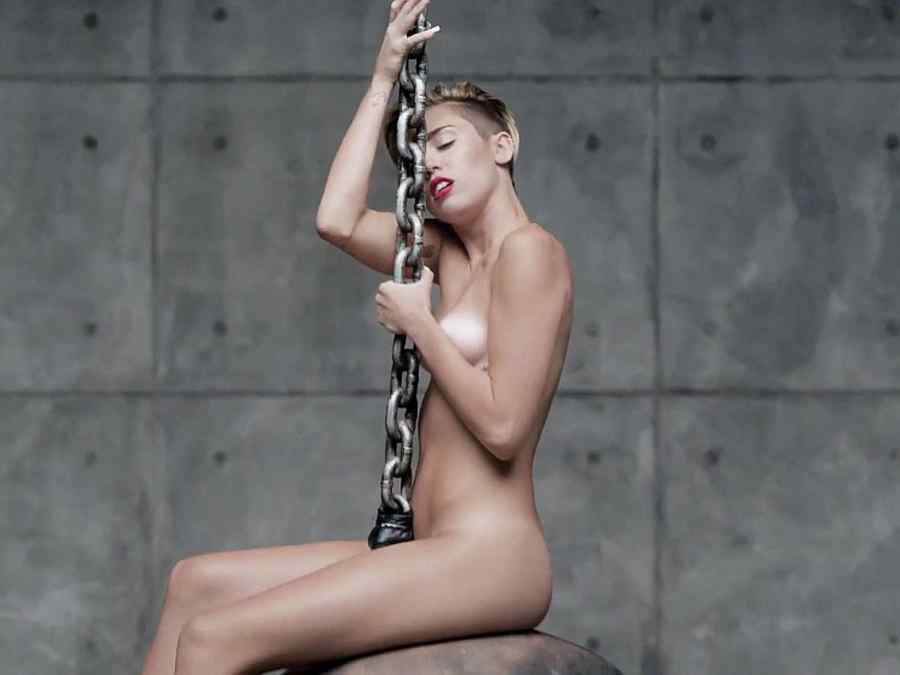 Miley Cyrus in the music video for Wrecking Ball