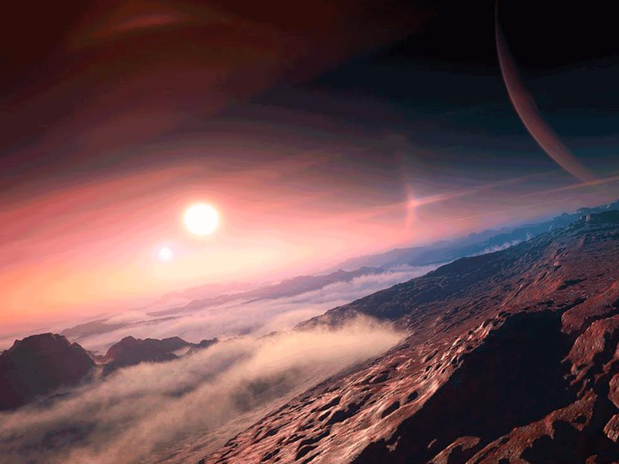 Representación artística de un exoplaneta nombrado por la Unión Astronómica Internacional.