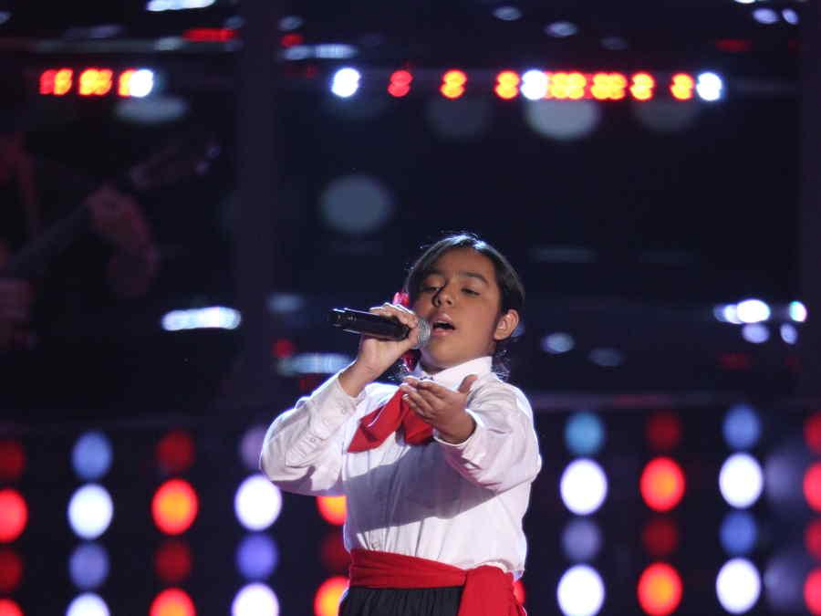 Estefani Lopez en las audiciones a ciegas de la voz kids