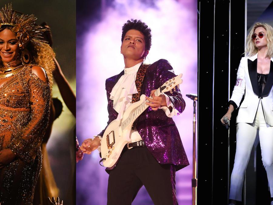 Beyoncé, Bruno Mars y Katy Perry en los Grammys 2017