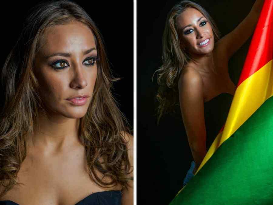 Candidatas a Miss Universo 2014 con su bandera