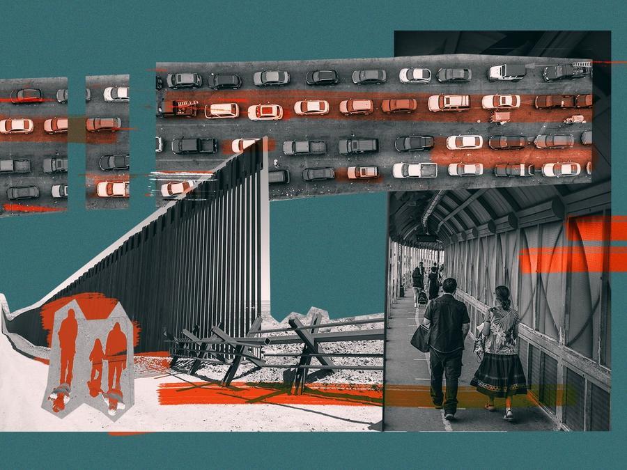 Ilustración sobre un punto de cruce fronterizo