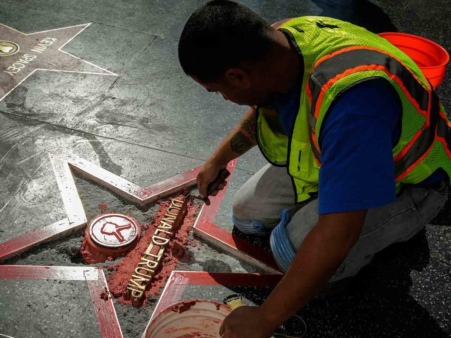 Estrella de Donald Trump vandalizada en Hollywood