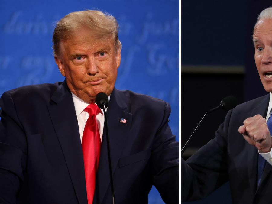 Donald Trump y Joe Biden durante el tercer debate presidencial