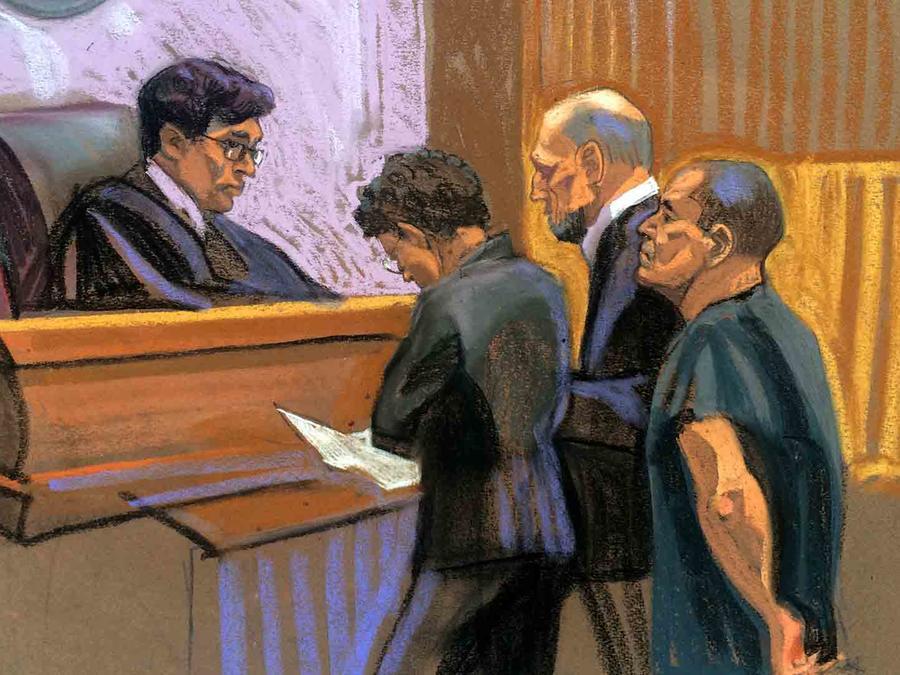 """Sketch de """"El Chapo"""" Guzmán en la corte de EEUU"""