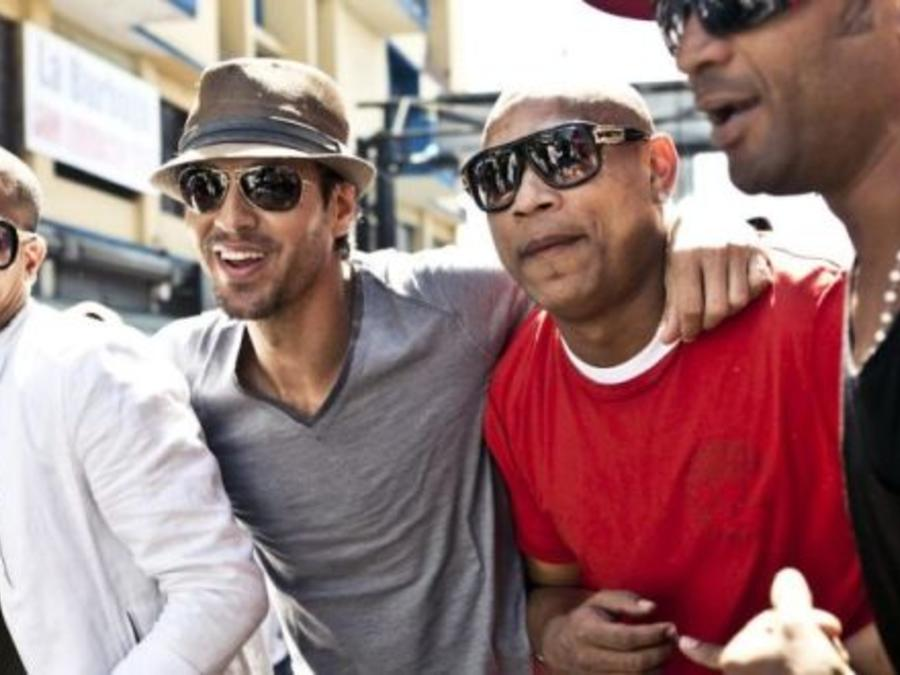 Enrique Iglesias, Descemer Bueno, and Gente de Zona on set for their music video 'Bailando'