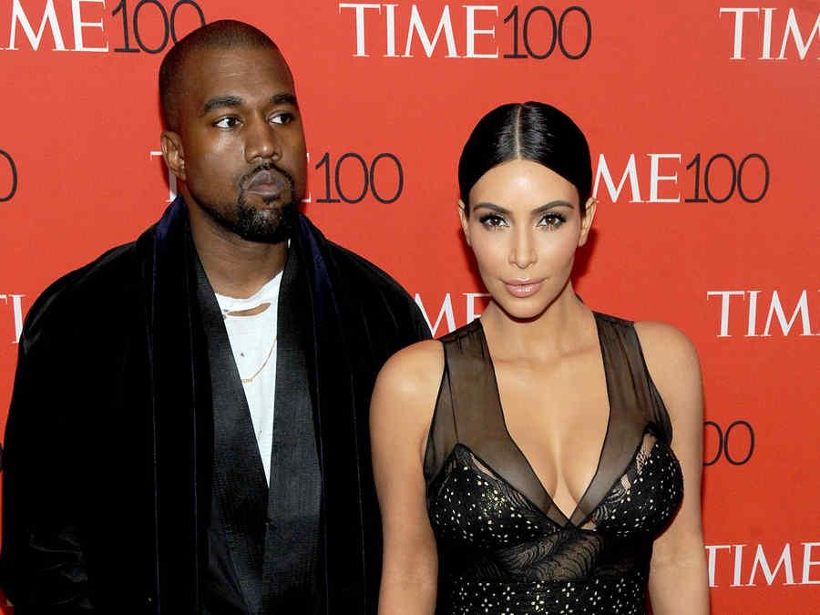 Kanye West y Kim Kardashian en la alfombra roja de TIME 100
