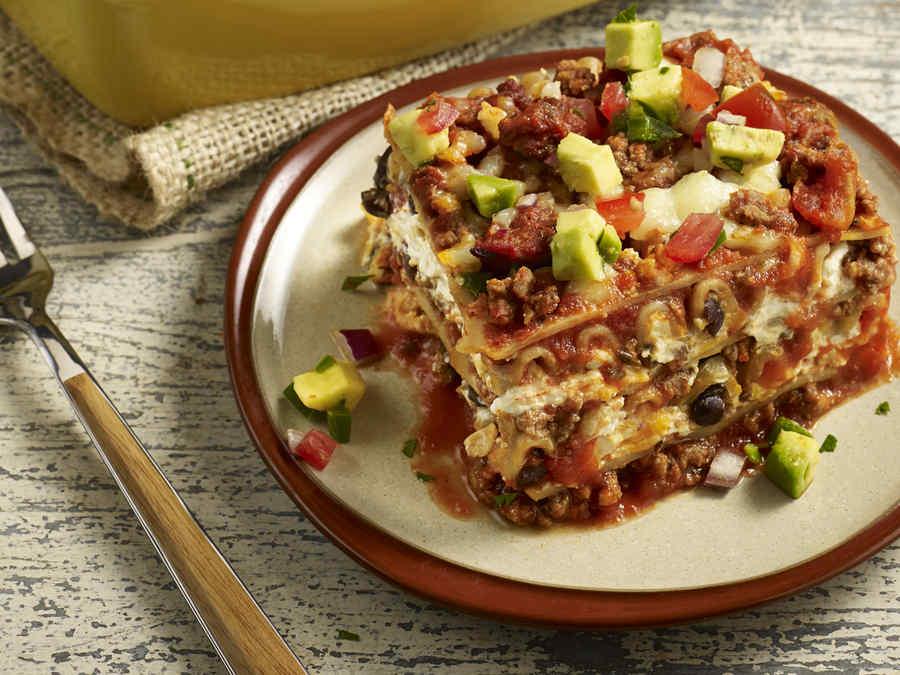 Taco lasaña, receta mexicana