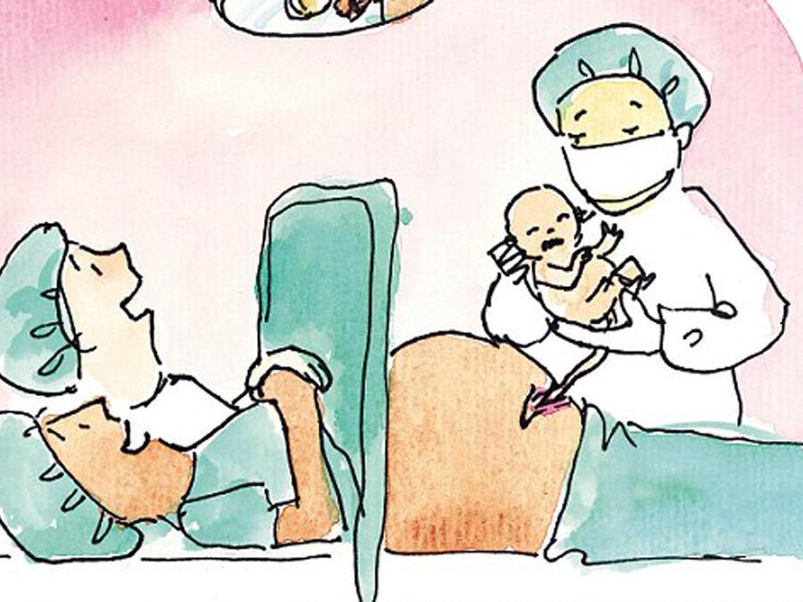 Ilustración de una cesaria en el libro de Fiona Katauskas