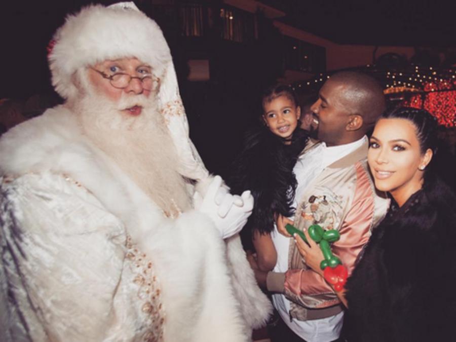 Kim Kardashian, Kanye & North West, Christmas 2015