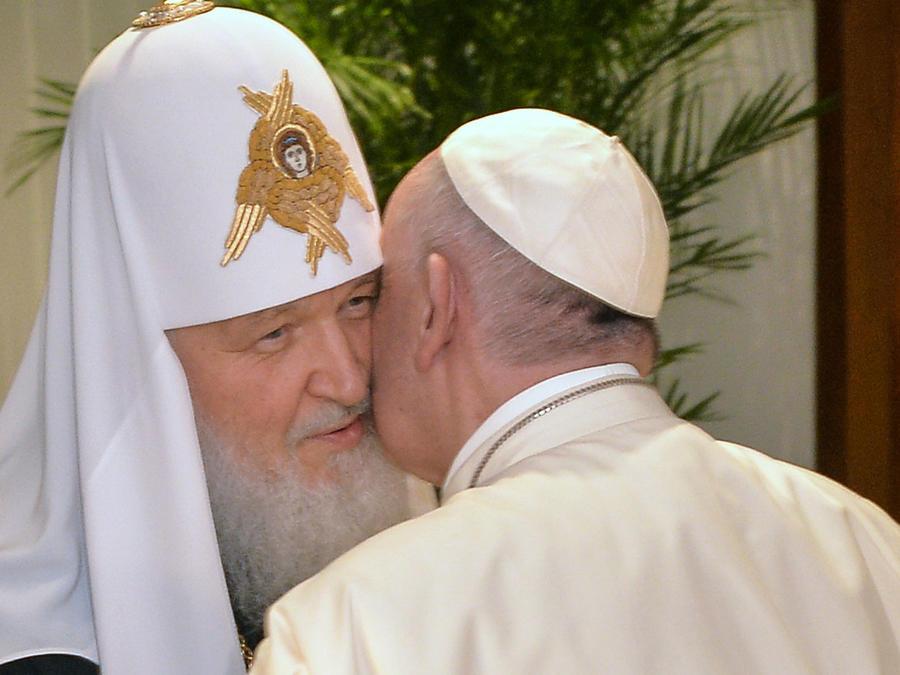 papa con lider ortodoxo ruso