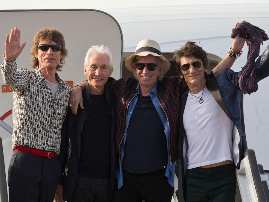 Los Rolling Stones a su llegada al Aeropuerto José Martí