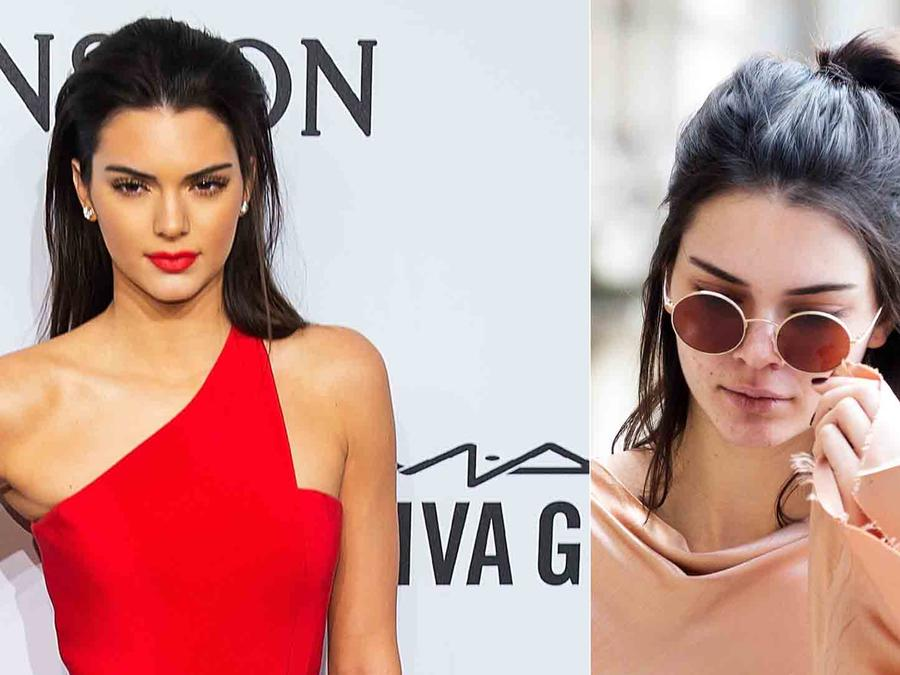 Kendall Jenner con y sin maquillaje