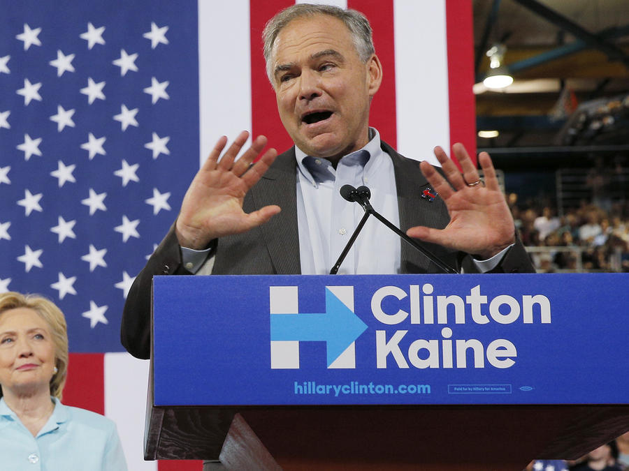 U.S. Senator Tim Kaine speaks after Democratic U.S. presidential candidate Hillary Clinton introduced Kaine as her vice presidential running mate during a campaign rally in Miami