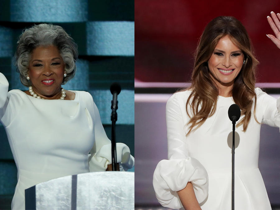 La representante demócrata de Ohio Joyce Beatty y la esposa de Donald Trump con lo que parece ser el mismo vestido