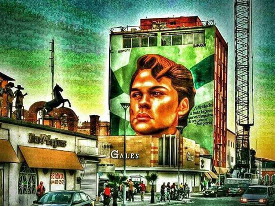 Pintura de mural de Juan Gabriel en Juarez