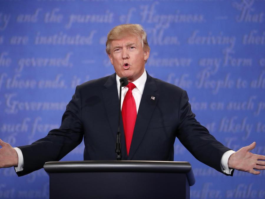 Republican U.S. presidential nominee Trump speaks during the third and final debate with Democratic nominee Clinton in Las Vegas