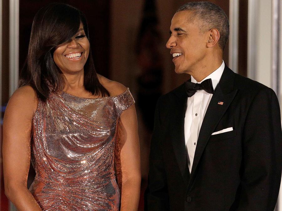 Michele Obama junto a su esposo el presidente estadounidense Barack Obama