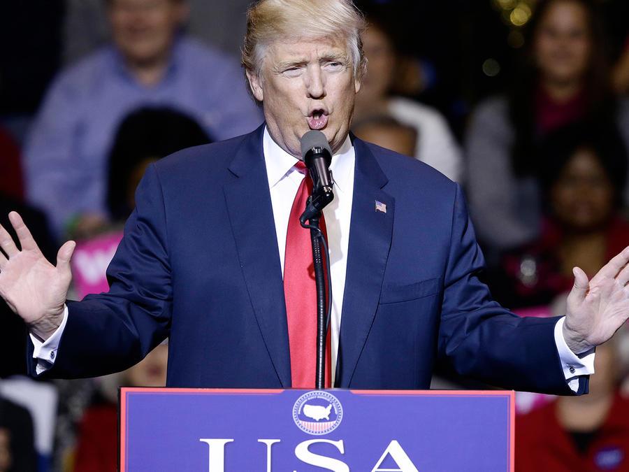 Donald Trump en su gira de agradecimiento en Carolina del Norte el martes 6 de diciembre del 2016