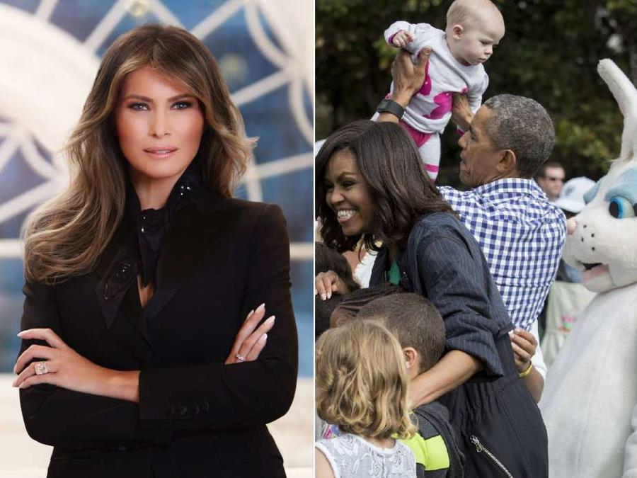 Foto oficial de la primera dama, Melania Trump, vs los Obama celebrando la Pascua en la Casa Blanca