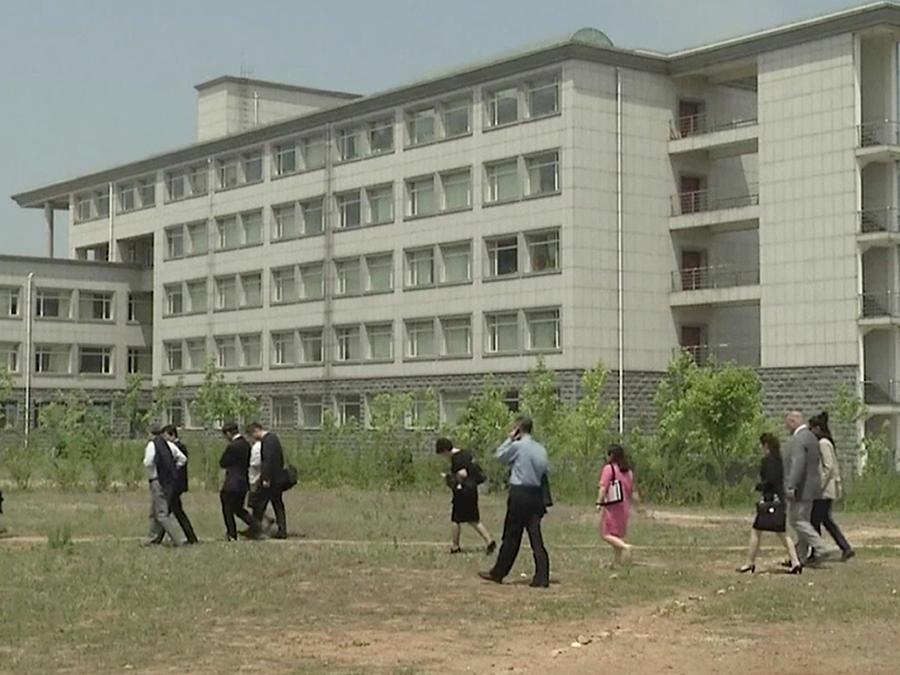 Edificio en la Universidad de Ciencia y Tecnología en Pyongyang, Corea del Norte