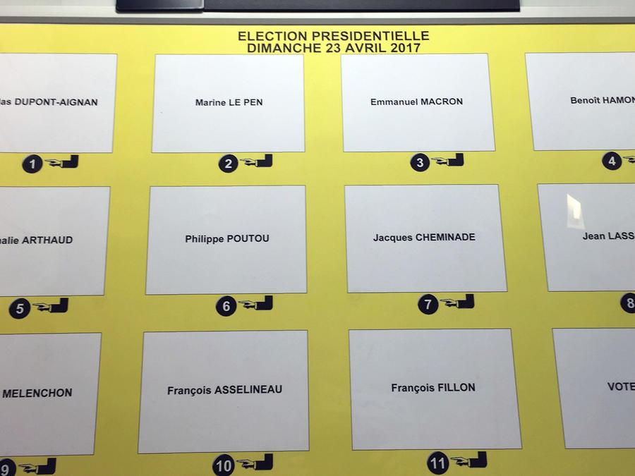 Una máquina para votar electrónicamente muestra los nombres de los candidatos a la presidencia de Francia