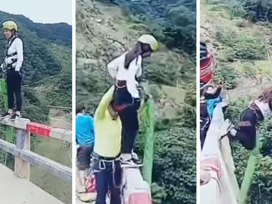 Este bungee jumping terminó en accidente.