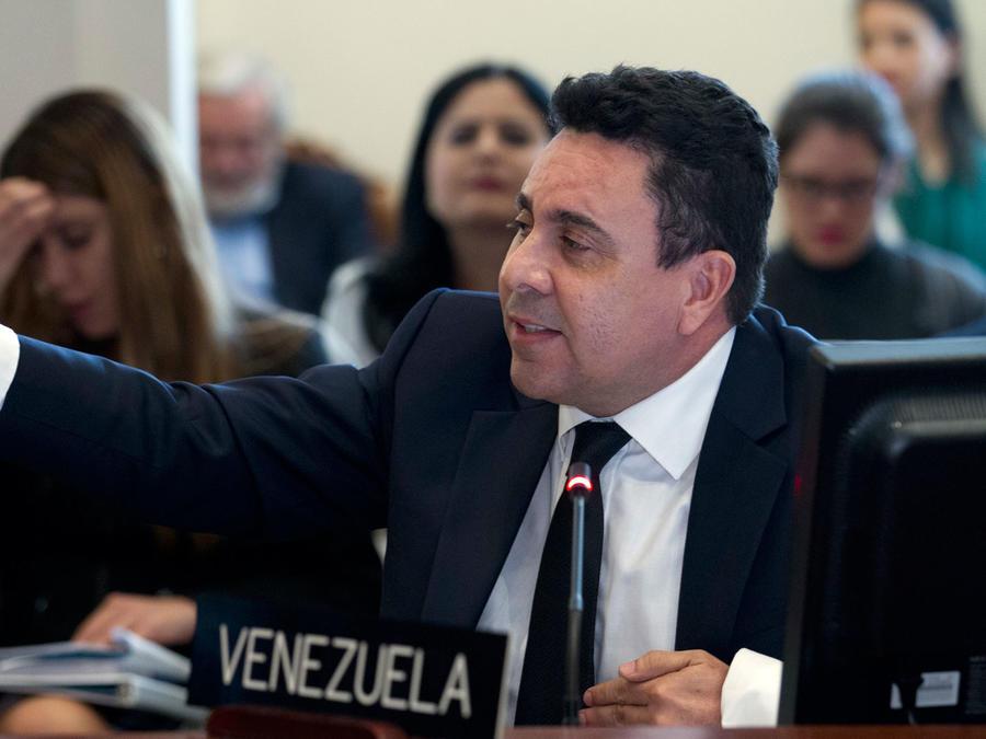 El representante de Venezuela en la OEA, Samuel Moncada, el 3 de abril de 2017