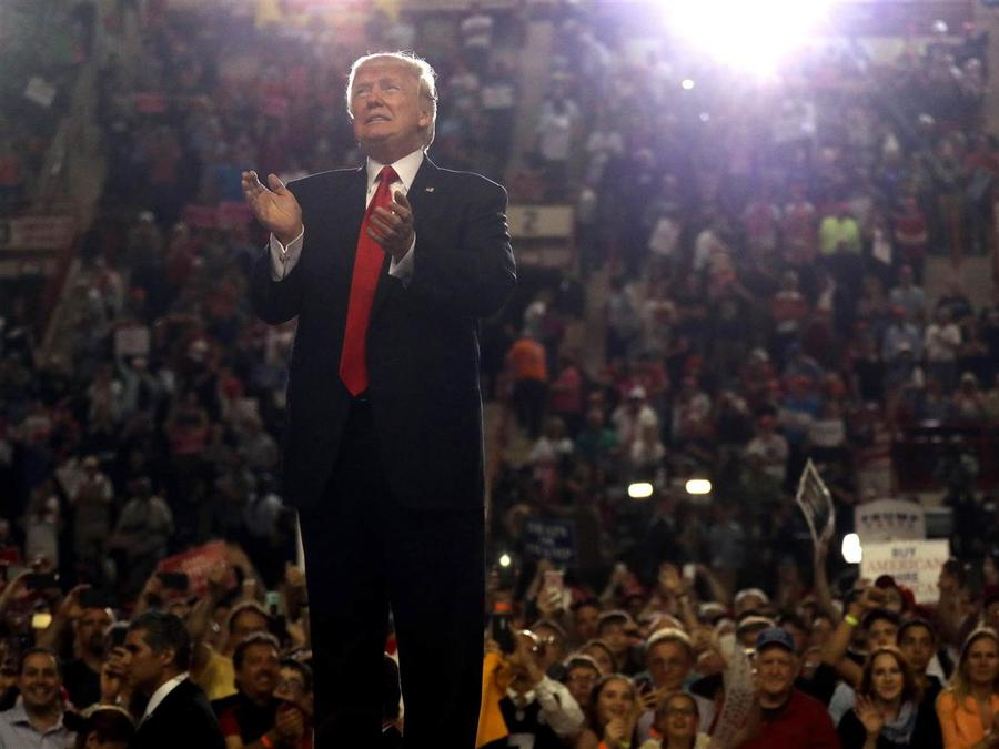 U.S. President Donald Trump leads a rally marking his first 100 days in office in Harrisburg, Pennsylvania, U.S. April 29, 2017